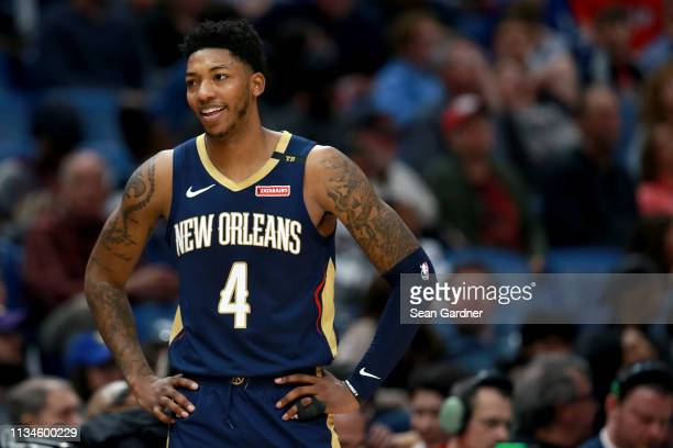 Elfrid Payton of the New Orleans Pelicans stands on the court during the first half of a game against the Toronto Raptors at the Smoothie King Center...