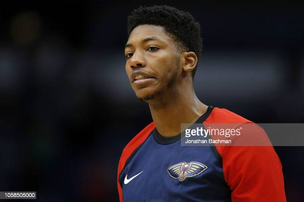 Elfrid Payton of the New Orleans Pelicans warms up before a game against the Sacramento Kings at the Smoothie King Center on October 19 2018 in New...