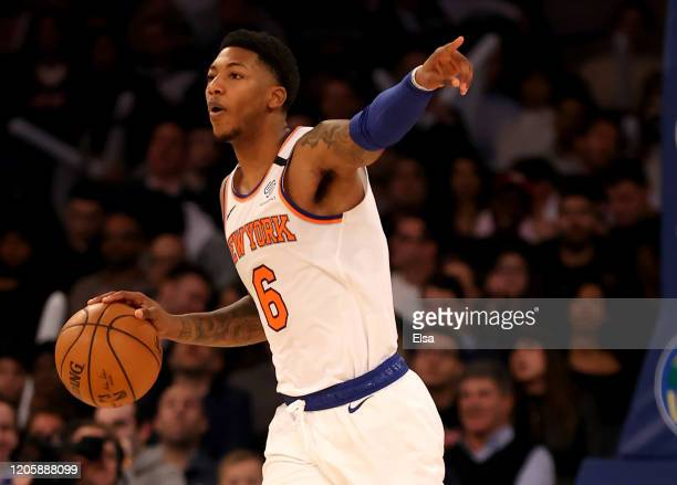 Elfrid Payton of the New York Knicks directs his teammates in the second half against the Washington Wizards at Madison Square Garden on February 12,...