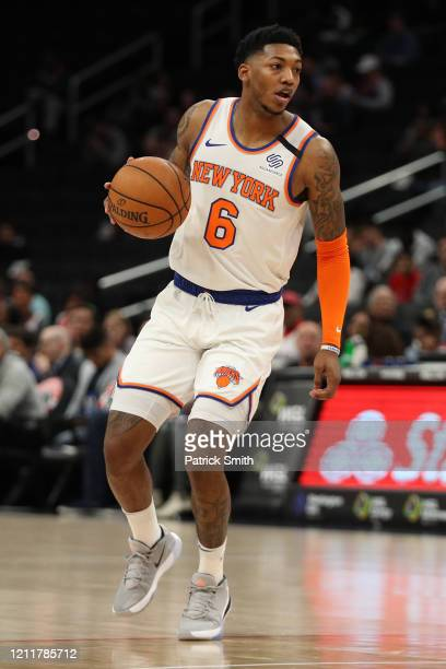 Elfrid Payton of the New York Knicks dribbles the ball against the Washington Wizards during the first half at Capital One Arena on March 10, 2020 in...