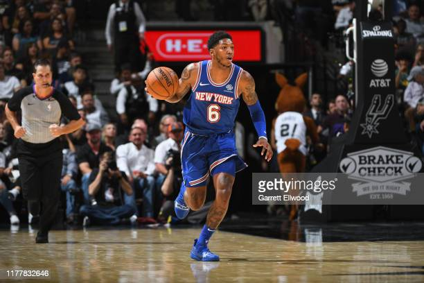 Elfrid Payton of the New York Knicks dribbles the ball up court against the San Antonio Spurs on October 23 2019 at the ATT Center in San Antonio...