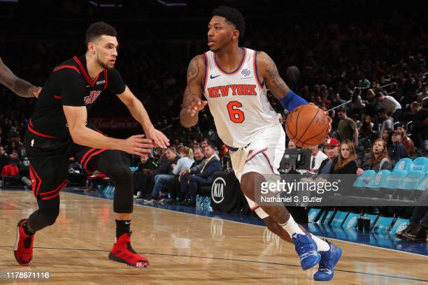 Elfrid Payton of the New York Knicks drives to the basket against the Chicago Bulls on October 28, 2019 at Madison Square Garden in New York City,...