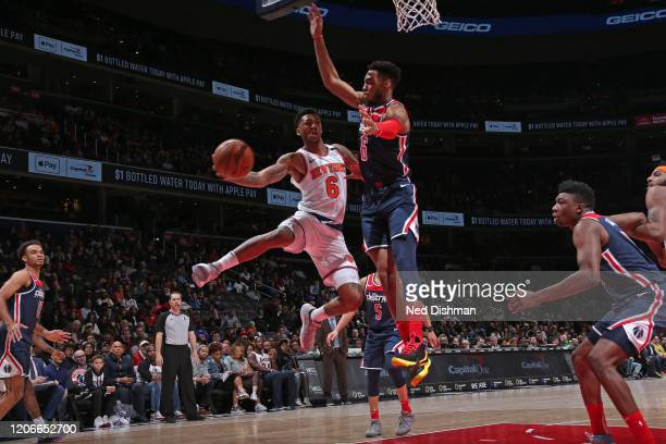 Elfrid Payton of the New York Knicks drives to the basket against the Washington Wizards on March 10 2020 at Capital One Arena in Washington DC NOTE...