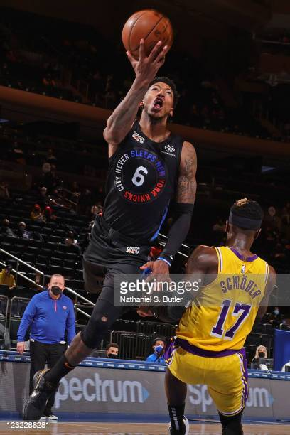 Elfrid Payton of the New York Knicks drives to the basket against the Los Angeles Lakers on April 12, 2021 at Madison Square Garden in New York City,...
