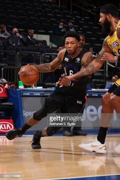 Elfrid Payton of the New York Knicks drives to the basket during the game against the Los Angeles Lakers on April 12, 2021 at Madison Square Garden...