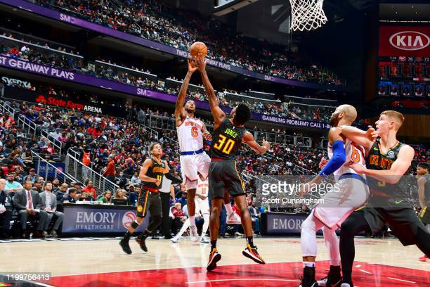 Elfrid Payton of the New York Knicks dunks the ball against the Atlanta Hawks on February 09, 2020 at State Farm Arena in Atlanta, Georgia. NOTE TO...