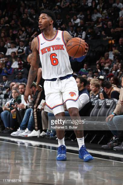 October 25: Elfrid Payton of the New York Knicks handles the ball against the Brooklyn Nets on October 25, 2019 at Barclays Center in Brooklyn, New...