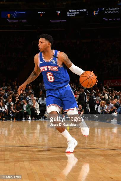 Elfrid Payton of the New York Knicks handles the ball against the Utah Jazz on March 4, 2020 at Madison Square Garden in New York City, New York....