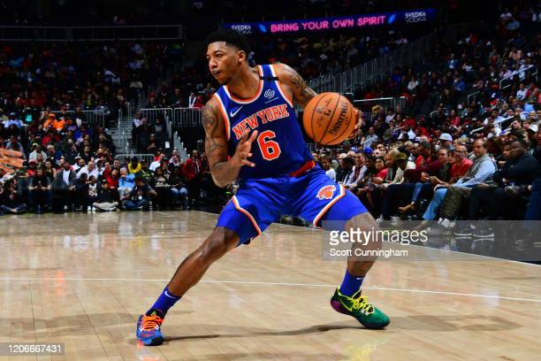 Elfrid Payton of the New York Knicks handles the ball against the Atlanta Hawks on March 11, 2020 at State Farm Arena in Atlanta, Georgia. NOTE TO...