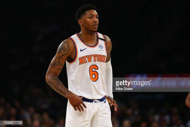 Elfrid Payton of the New York Knicks in action against the Oklahoma City Thunder at Madison Square Garden on March 06, 2020 in New York City....