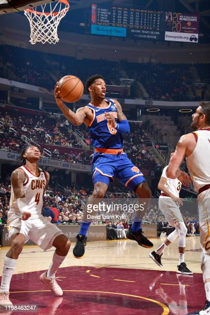 Elfrid Payton of the New York Knicks passes the ball against the Cleveland Cavaliers on February 3 2020 at Rocket Mortgage FieldHouse in Cleveland...