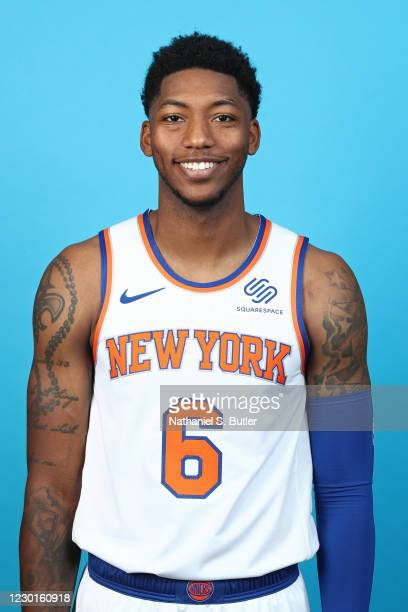 Elfrid Payton of the New York Knicks poses for a head shot during NBA content day on December 14, 2020 at Madison Square Garden in New York, New...