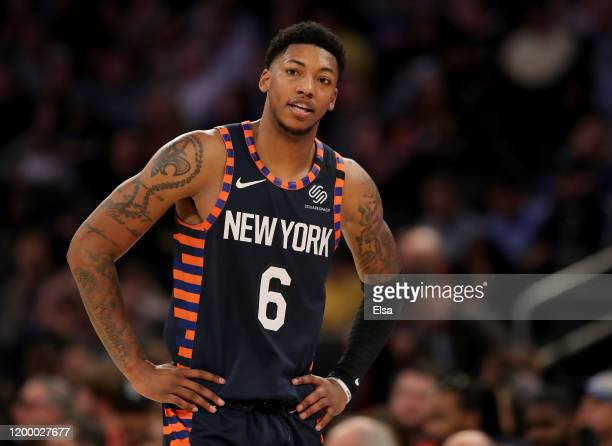 Elfrid Payton of the New York Knicks reacts to a call in the second half against the Phoenix Suns at Madison Square Garden on January 16, 2020 in New...