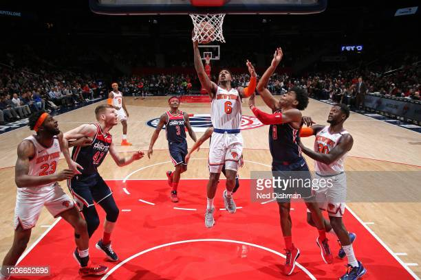 Elfrid Payton of the New York Knicks shoots the ball against the Washington Wizards on March 10 2020 at Capital One Arena in Washington DC NOTE TO...