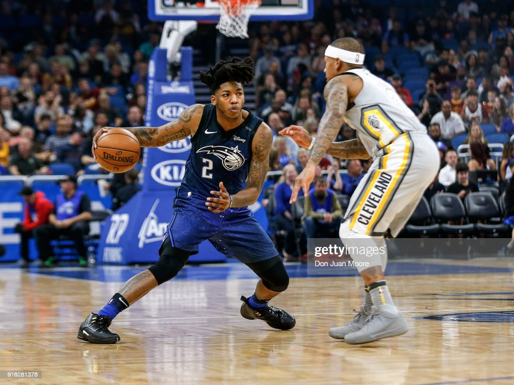 Elfrid Payton #2 of the Orlando Magic against Isaiah Thomas #3 of the Cleveland Cavaliers during the game at the Amway Center on February 6, 2018 in Orlando, Florida. The Magic defeated the Cavaliers 116 to 98.