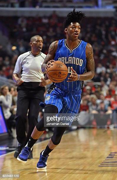 Elfrid Payton of the Orlando Magic brings the ball up the court against the Chicago Bulls at the United Center on November 7 2016 in Chicago Illinois...
