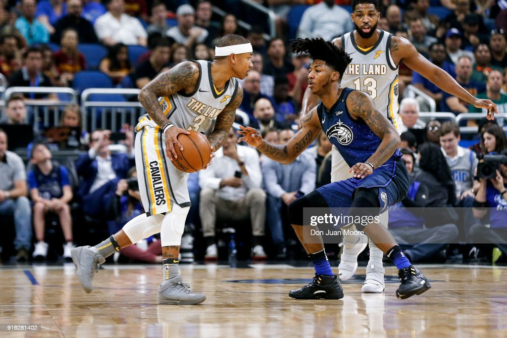 Elfrid Payton #2 of the Orlando Magic defends Isaiah Thomas #3 of the Cleveland Cavaliers during the game at the Amway Center on February 6, 2018 in Orlando, Florida. The Magic defeated the Cavaliers 116 to 98.