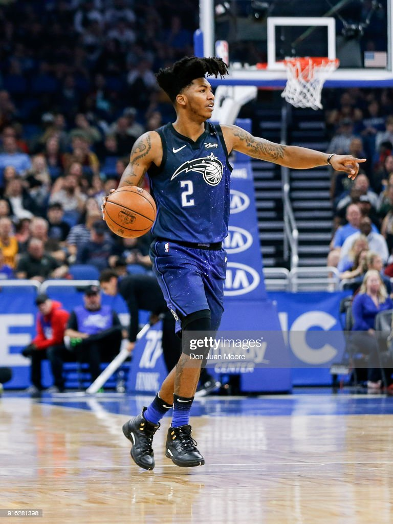 Elfrid Payton #2 of the Orlando Magic dribbles the ball up court during the game against the Cleveland Cavaliers at the Amway Center on February 6, 2018 in Orlando, Florida. The Magic defeated the Cavaliers 116 to 98.