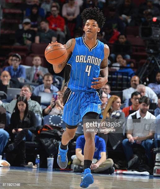 Elfrid Payton of the Orlando Magic dribbles up court against the Philadelphia 76ers at Wells Fargo Center on February 23 2016 in Philadelphia...