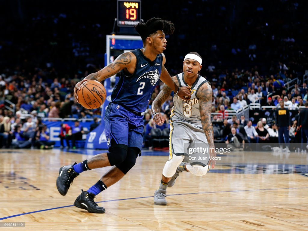 Elfrid Payton #2 of the Orlando Magic dripples against Isaiah Thomas #3 of the Cleveland Cavaliers during the game at the Amway Center on February 6, 2018 in Orlando, Florida. The Magic defeated the Cavaliers 116 to 98.