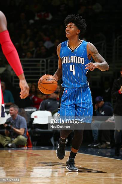Elfrid Payton of the Orlando Magic drives to the basket against the Washington Wizards during the game on November 14 2015 at Verizon Center in...