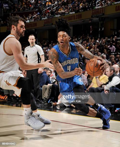 Elfrid Payton of the Orlando Magic drives to the basket against the Cleveland Cavaliers during the game on April 4 2017 at Quicken Loans Arena in...