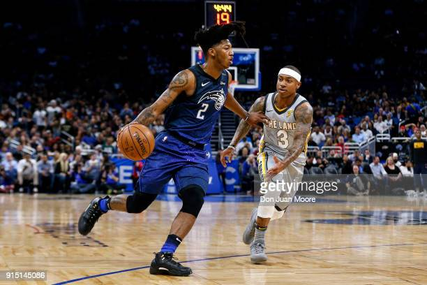 Elfrid Payton of the Orlando Magic drives to the basket against Isaiah Thomas the Cleveland Cavaliers during the game at the Amway Cetnter on...