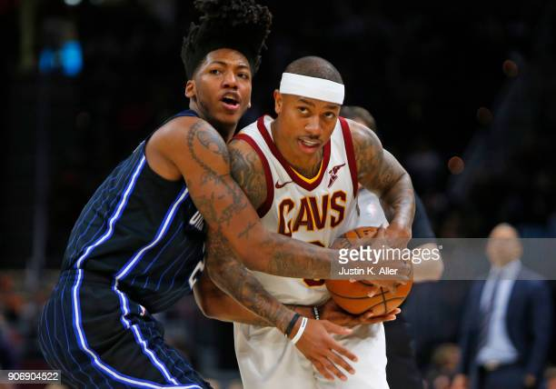 Elfrid Payton of the Orlando Magic fouls Isaiah Thomas of the Cleveland Cavaliers at Quicken Loans Arena on January 18 2018 in Cleveland Ohio NOTE TO...