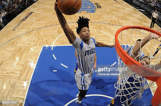 Elfrid Payton of the Orlando Magic goes up for a dunk against the Golden State Warriors on January 22 2017 at Amway Center in Orlando Florida NOTE TO...