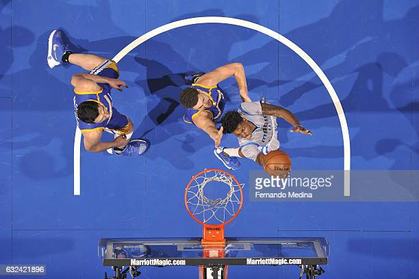 Elfrid Payton of the Orlando Magic goes up for a lay up against the Golden State Warriors on January 22 2017 at Amway Center in Orlando Florida NOTE...