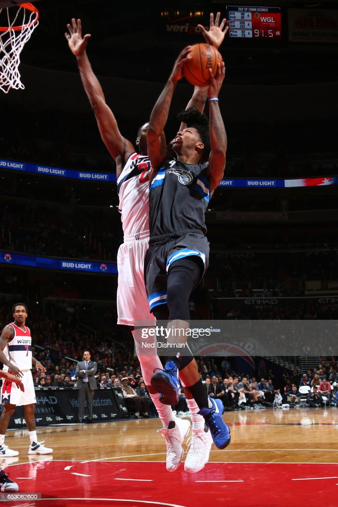 Elfrid Payton #4 of the Orlando Magic goes up for a lay up against the Washington Wizards on March 5, 2017 at Verizon Center in Washington, DC.