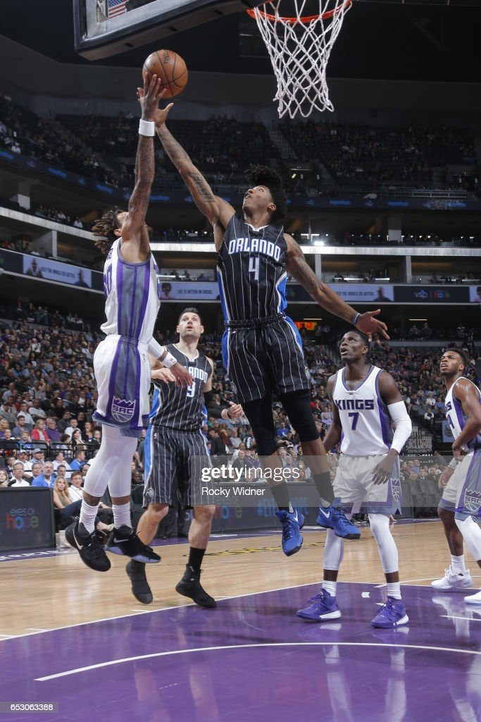 Elfrid Payton #4 of the Orlando Magic grabs the rebound against the Sacramento Kings on March 13, 2017 at Golden 1 Center in Sacramento, California.