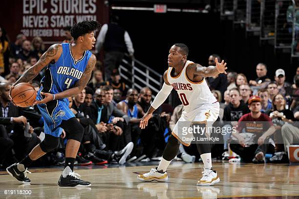 Elfrid Payton of the Orlando Magic handles the ball against Kay Felder of the Cleveland Cavaliers on October 29 2016 at Quicken Loans Arena in...