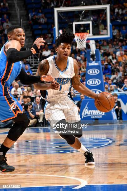 Elfrid Payton of the Orlando Magic handles the ball against the Oklahoma City Thunder on March 29 2017 at Amway Center in Orlando Florida NOTE TO...