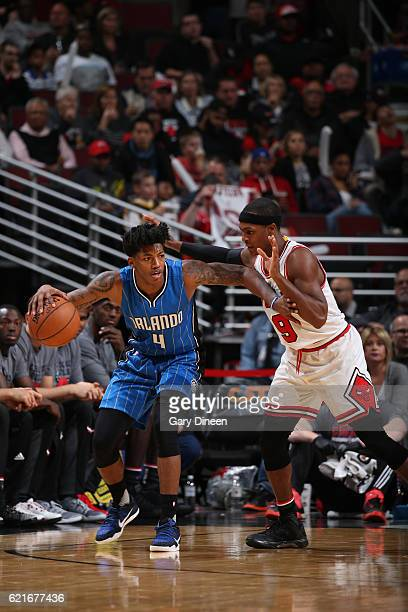 Elfrid Payton of the Orlando Magic handles the ball against the Chicago Bulls on November 7 2016 at the United Center in Chicago Illinois NOTE TO...