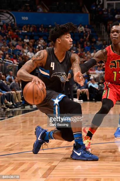 Elfrid Payton of the Orlando Magic handles the ball against the Atlanta Hawks on February 25 2017 at the Amway Center in Orlando Florida NOTE TO USER...