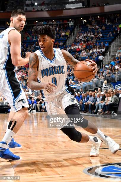 Elfrid Payton of the Orlando Magic handles the ball against the Detroit Pistons on April 12 2017 at the Amway Center in Orlando Florida NOTE TO USER...