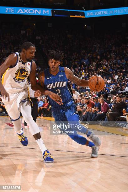 Elfrid Payton of the Orlando Magic handles the ball against the Golden State Warriors on November 13 2017 at ORACLE Arena in Oakland California NOTE...