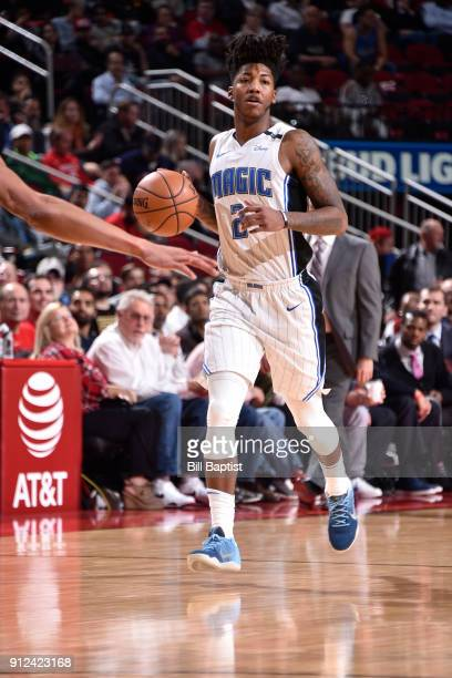 Elfrid Payton of the Orlando Magic handles the ball against the Houston Rockets on January 30 2018 at the Toyota Center in Houston Texas NOTE TO USER...