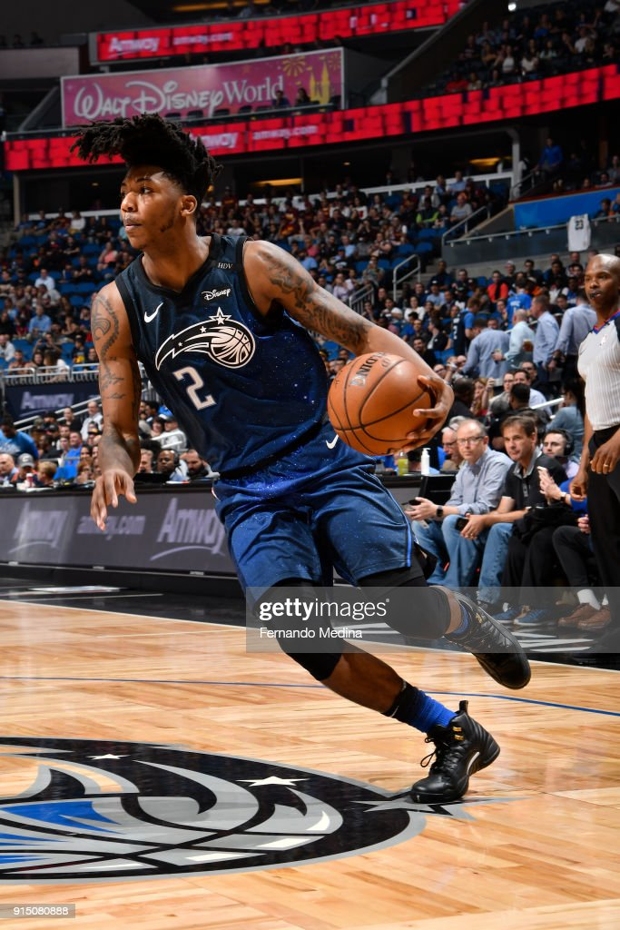 Elfrid Payton #2 of the Orlando Magic handles the ball against the Cleveland Cavaliers on February 6, 2018 at Amway Center in Orlando, Florida.