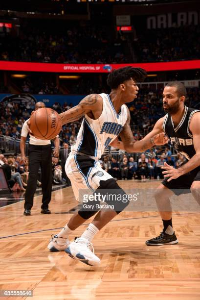 Elfrid Payton of the Orlando Magic handles the ball against the San Antonio Spurs during the game on February 15 2017 at Amway Center in Orlando...