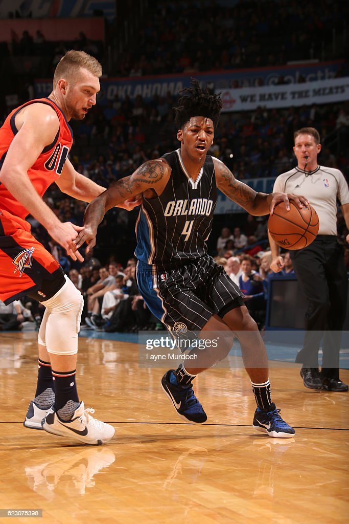 Elfrid Payton #4 of the Orlando Magic handles the ball during a game against the Oklahoma City Thunder on November 13, 2016 at Chesapeake Energy Arena in Oklahoma City, Oklahoma.