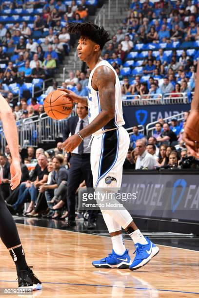 Elfrid Payton of the Orlando Magic handles the ball during the game against the Miami Heat on October 18 2017 at Amway Center in Orlando Florida NOTE...