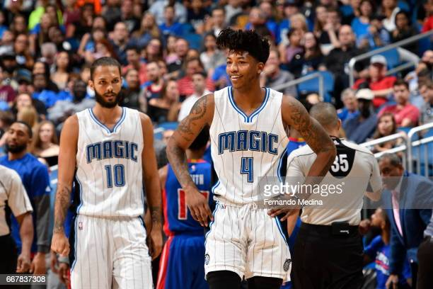 Elfrid Payton of the Orlando Magic is seen during the game against the Detroit Pistons on April 12 2017 at the Amway Center in Orlando Florida NOTE...