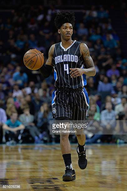 Elfrid Payton of the Orlando Magic moves the ball against the Charlotte Hornets during their game at Time Warner Cable Arena on April 13 2016 in...