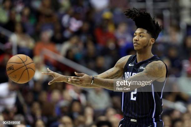 Elfrid Payton of the Orlando Magic passes the ball against the Washington Wizards in the first half at Capital One Arena on January 12 2018 in...