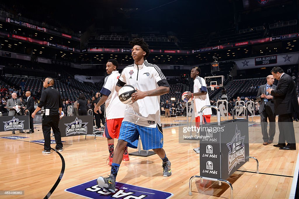 Elfrid Payton of the Orlando Magic practices prior to the