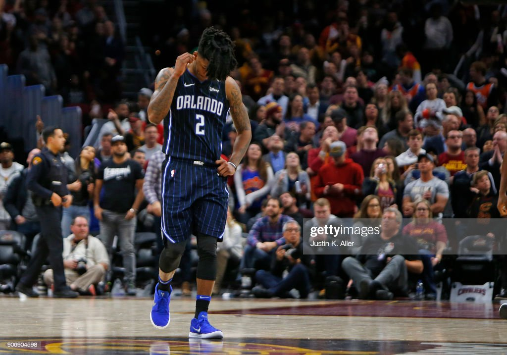 Elfrid Payton #2 of the Orlando Magic reacts after being defeated by the Cleveland Cavaliers 104-103 at Quicken Loans Arena on January 18, 2018 in Cleveland, Ohio.