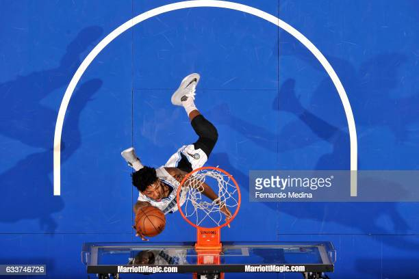 Elfrid Payton of the Orlando Magic shoots a lay up during the game against the Toronto Raptors on February 3 2017 at Amway Center in Orlando Florida...