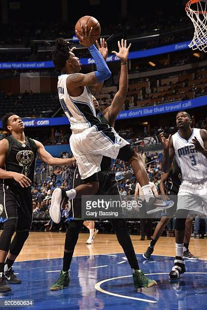 Elfrid Payton of the Orlando Magic shoots against the Milwaukee Bucks during the game on April 11 2016 at Amway Center in Orlando Florida NOTE TO...
